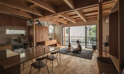 外と繋がるリビング|収納家具にプラスαの機能を付けた収納をテーマにした家(野路の家)