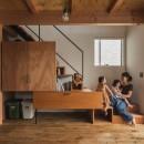 収納家具にプラスαの機能を付けた収納をテーマにした家(野路の家)の写真 収納と階段