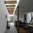 プライバシーを確保しながら光を取り入れる美術館のような家(石部東の家)の写真 リビング
