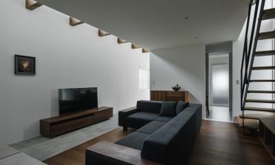 リビング|プライバシーを確保しながら光を取り入れる美術館のような家(石部東の家)