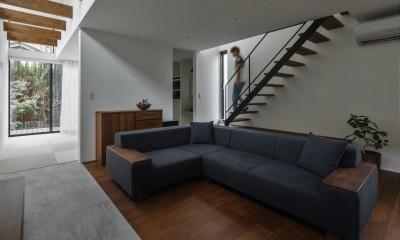 リビング階段とリビング|プライバシーを確保しながら光を取り入れる美術館のような家(石部東の家)