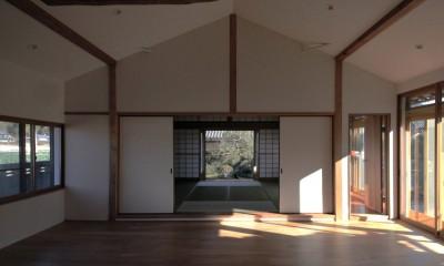 日本家屋の平屋をアンティークにリノベ(信楽の家リノベーション) (リビングダイニング)
