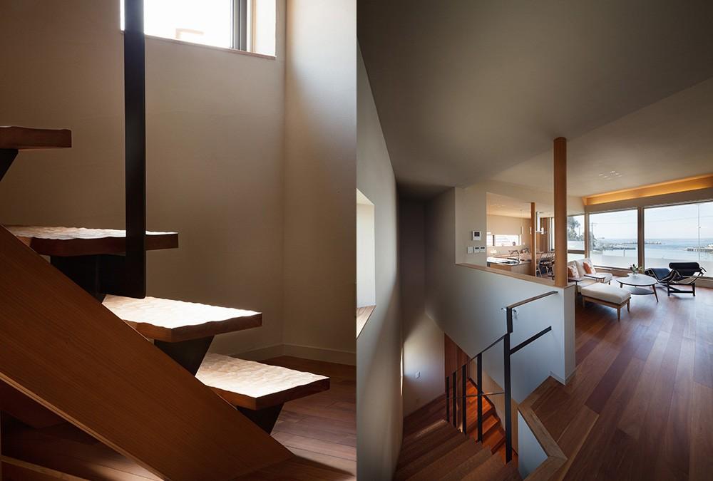 荒崎週末住居〜海・夕陽・富士山を望む家〜 (階段詳細と2階のLDK)