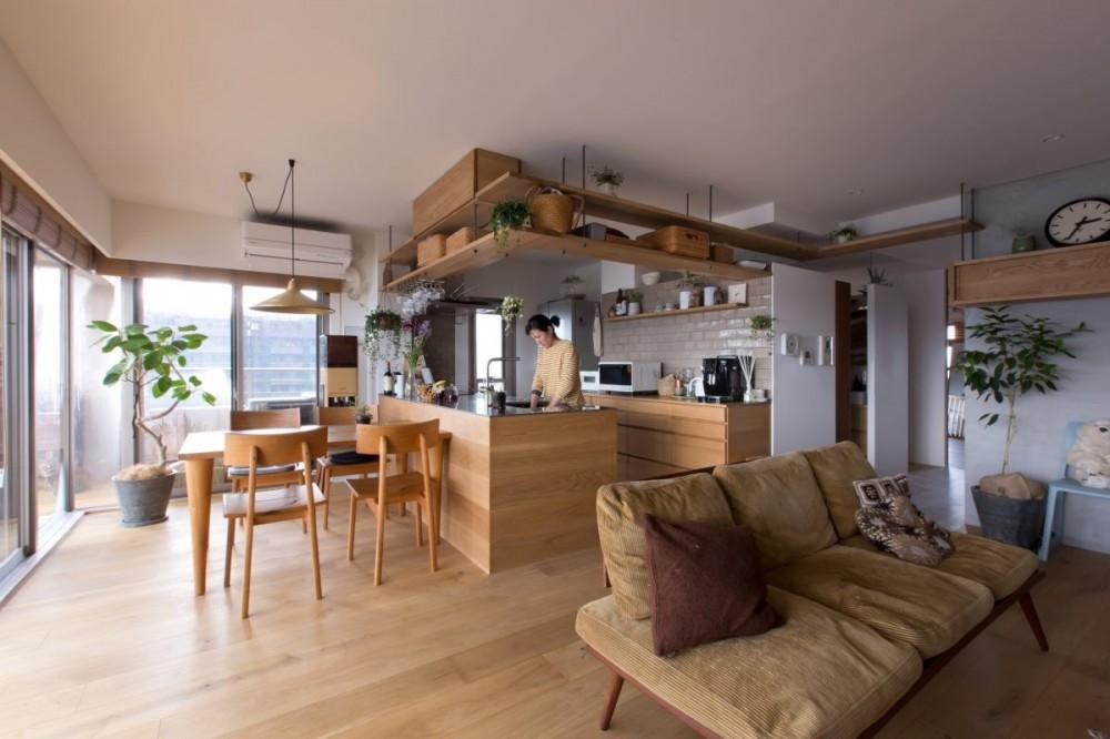 猫と植栽と家具をテーマにしたマンションリノベ(におの浜マンションリノベーション) (リビングダイニング)