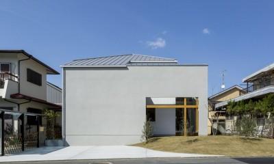芝生丘のあるプライバシーを確保しつつ開く窓の家(宇治の家) (外観)