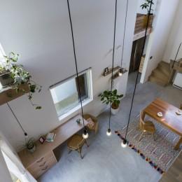 芝生丘のあるプライバシーを確保しつつ開く窓の家(宇治の家) (リビングダイニング)