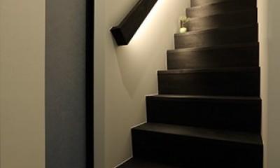 室内まで続く路地のあるゲストハウス(宇治民宿・宇治壱番宿にがうり) (階段)