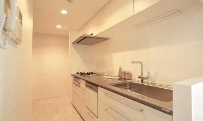 ステンレスカウンターのキッチン|イタリアン・カントリーが心地よい家