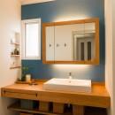 TOTOリモデルサービスの住宅事例「アクセントクロスで南仏テイストの造作洗面」