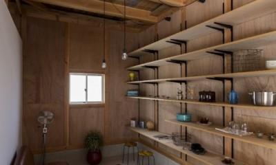 倉庫をリノベーションしたかのような新築の家(石部の家) (リビング)