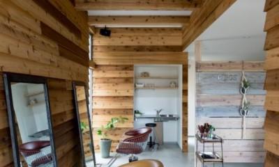 内装|外にいるような開放的な美容室併用住宅(ヘアーサロンPECOS)