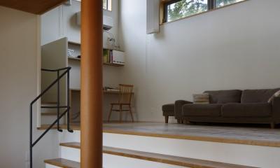 豊橋の家〜神社の緑を借景としたスキップフロアの家〜|神社の緑を借景としたスキップフロアの家