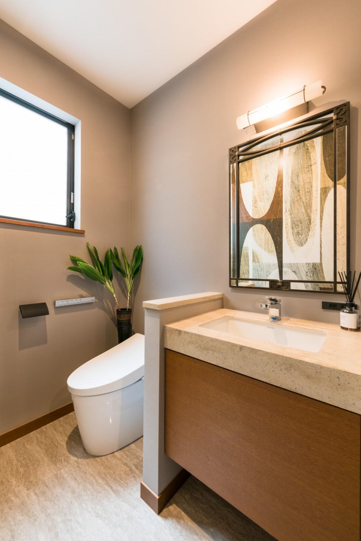 洗面空間 (リゾートホテルライクなトイレ空間)