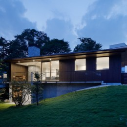 054那須Mさんの家 (外観夕景)