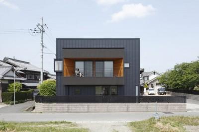 外観 (田園風景に向かって開く2階リビングの家(水口の家))