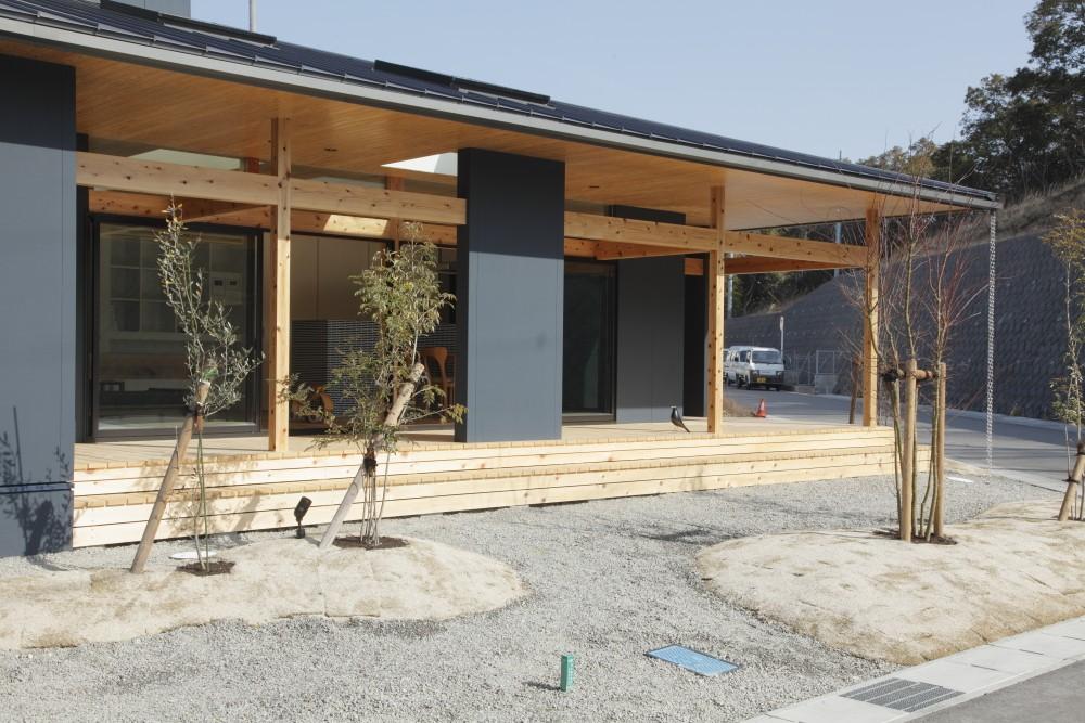 水平に広がる大きな軒と縁側のある家(阿久比の家) (外観 庭)