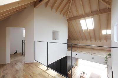 吹き抜け (薪ストーブのある三角屋根の暮らしを楽しむ家(末広の家))