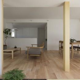 プライバシーを確保しつつ開放的な旗竿地に建つ家(草津の家) (中庭 リビング)