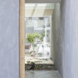 プライバシーを確保しつつ開放的な旗竿地に建つ家(草津の家) (玄関)