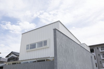 外観 (プライバシーを確保しつつ開放的な旗竿地に建つ家(草津の家))