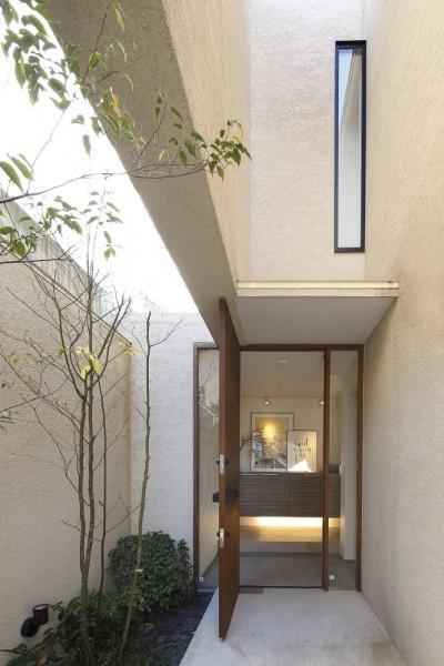 名古屋市N邸~高低差がある敷地のガレージハウス (エントランスアプローチ)