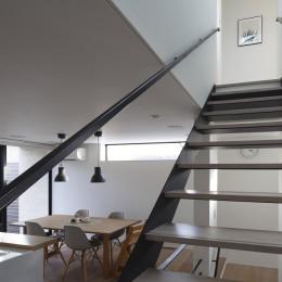 名古屋市N邸~高低差がある敷地のガレージハウス (1階から2階へのスケルトン階段)