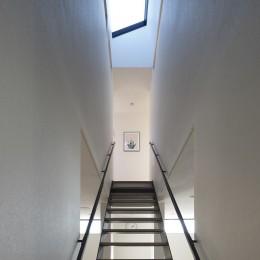 名古屋市N邸~高低差がある敷地のガレージハウス (階段上のトップライト)