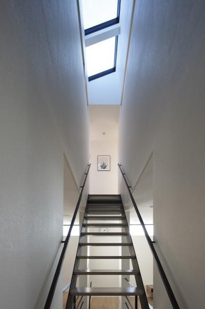 階段上のトップライト (名古屋市N邸~高低差がある敷地のガレージハウス)