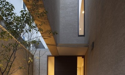 名古屋市N邸~高低差がある敷地のガレージハウス (エントランスアプローチ夜景)