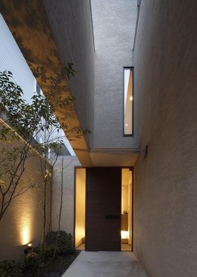 エントランスアプローチ夜景 (名古屋市N邸~高低差がある敷地のガレージハウス)