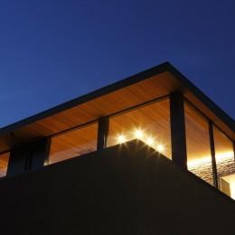 名古屋市S邸~ラグジュアリーなLDK空間があるガレージハウス (外観夜景(見上げ))