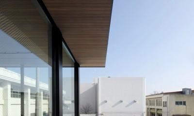 名古屋市S邸~ラグジュアリーなLDK空間があるガレージハウス (木貼の庇下にある壁に囲われたデッキテラス)