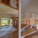 小田井の住宅の写真 螺旋階段から1,2階を見る