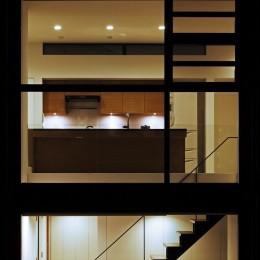 名古屋市H邸~STEP HOUSE (キッチン夜景)