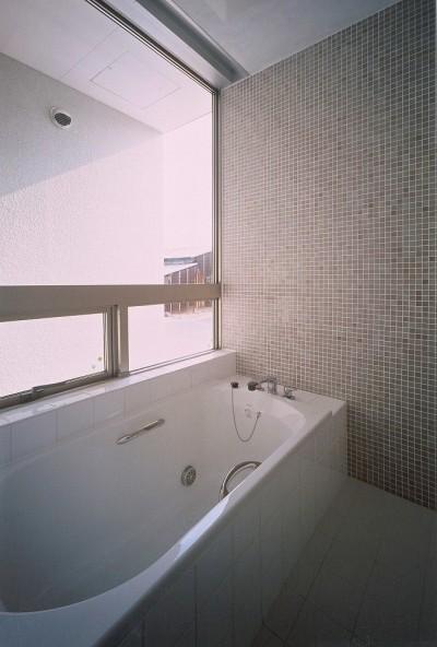 壁全面がモザイク貼のバスルーム (岡崎市O邸~水盤と花火が見えるテラスがある開放感あふれる住宅)