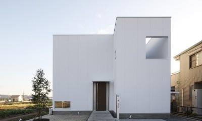 豊田市A邸~インナーテラスと吹抜けのある大判タイル貼の住宅 (白いBOX状の外観)