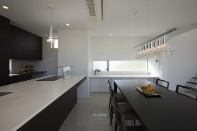 造作のアイランドキッチン (豊田市A邸~インナーテラスと吹抜けのある大判タイル貼の住宅)