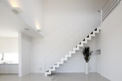 リビング吹抜けにある稲妻状のスケルトン階段 (豊田市A邸~インナーテラスと吹抜けのある大判タイル貼の住宅)