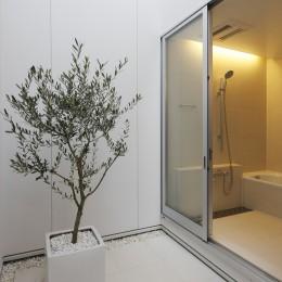 豊田市A邸~インナーテラスと吹抜けのある大判タイル貼の住宅 (インナーテラスに面したバスルーム)