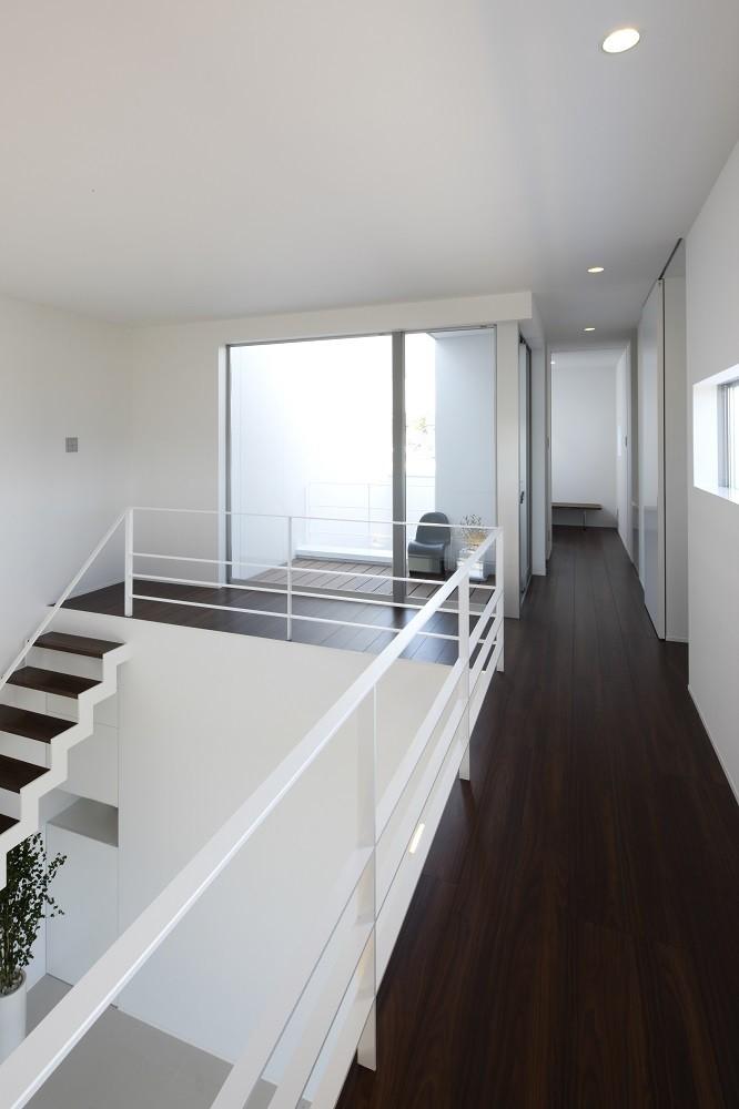 豊田市A邸~インナーテラスと吹抜けのある大判タイル貼の住宅 (テラスからの自然光が溢れる吹抜けスペース)