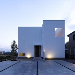 豊田市A邸~インナーテラスと吹抜けのある大判タイル貼の住宅 (外観夜景)