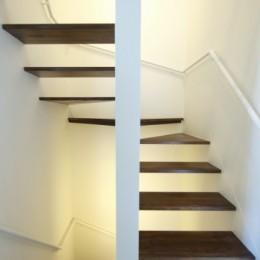 名古屋市T邸~幾つもの外部空間を内包する家 (間接照明で照らされたスケルトン階段)