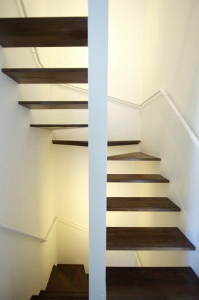 間接照明で照らされたスケルトン階段 (名古屋市T邸~幾つもの外部空間を内包する家)