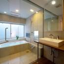 名古屋市T邸~幾つもの外部空間を内包する家の写真 ドライエリアに面したバスルームとパウダールーム