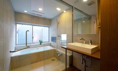 名古屋市T邸~幾つもの外部空間を内包する家 (ドライエリアに面したバスルームとパウダールーム)