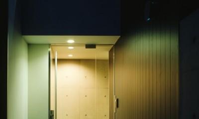 名古屋市T邸~幾つもの外部空間を内包する家 (ガラス貼のエントランス)