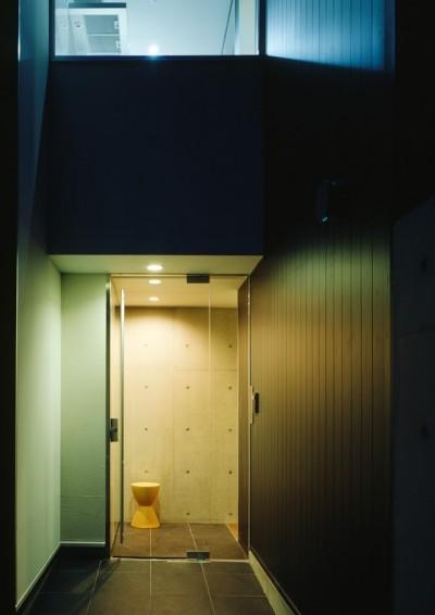ガラス貼のエントランス (名古屋市T邸~幾つもの外部空間を内包する家)