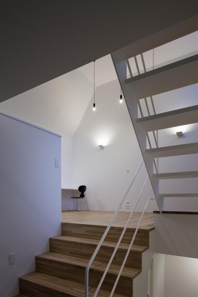 スキップフロアのリビングへつながる大階段 (建物探訪で放送 目黒のスキップフロアの家 ハコノオウチ13)