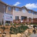 ペンション  ビスタポイント山梨県韮崎市のリゾート地に建つ、眺めの良いペンションの写真 駐車場から見上げる