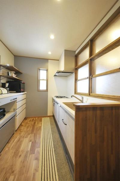 キッチン (ナチュラルなレトロカフェスタイル)